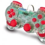 จอยเกมส์ joystick PS2 oker ใสแดง