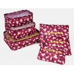 กระเป๋าจัดระเบียบกระเป๋าเดินทางชุดใหญ่ 6 ใบ (สีลายดอกแดง)