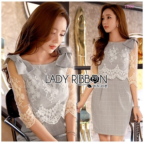 Lady Elizabeth Smart Casual Lace and Checked Cotton Dress with Ribbon