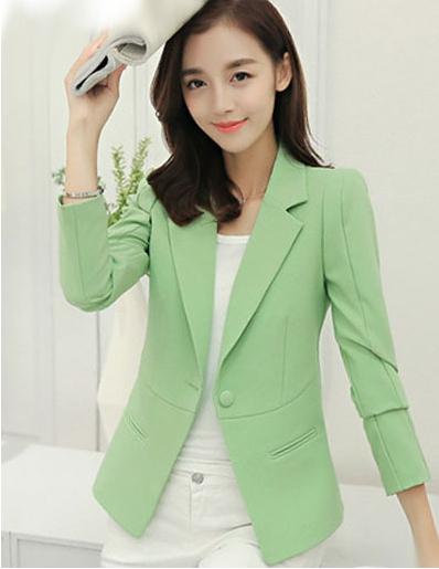 เสื้อสูท เสื้อคลุม ใส่ทำงาน สวยหวานแฟชั่นสไตล์เกาหลี สีเขียวอ่อน
