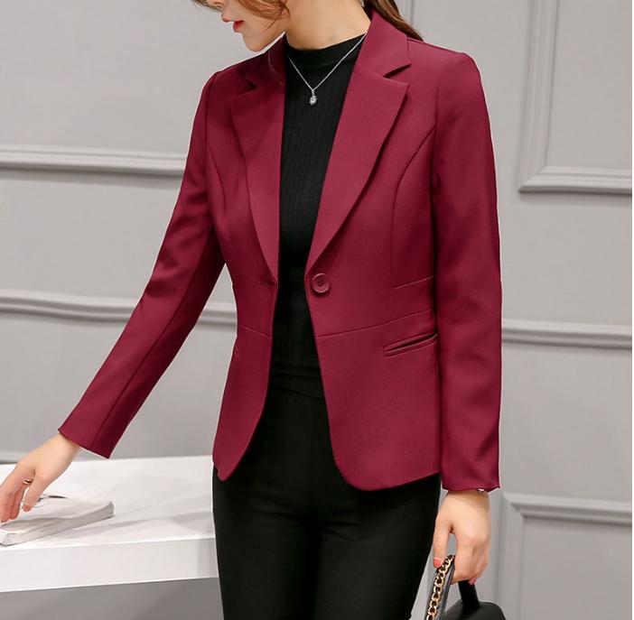 เสื้อสูทแฟชั่น ใส่ทำงาน สไตล์เรียบหรู สีไวน์แดง