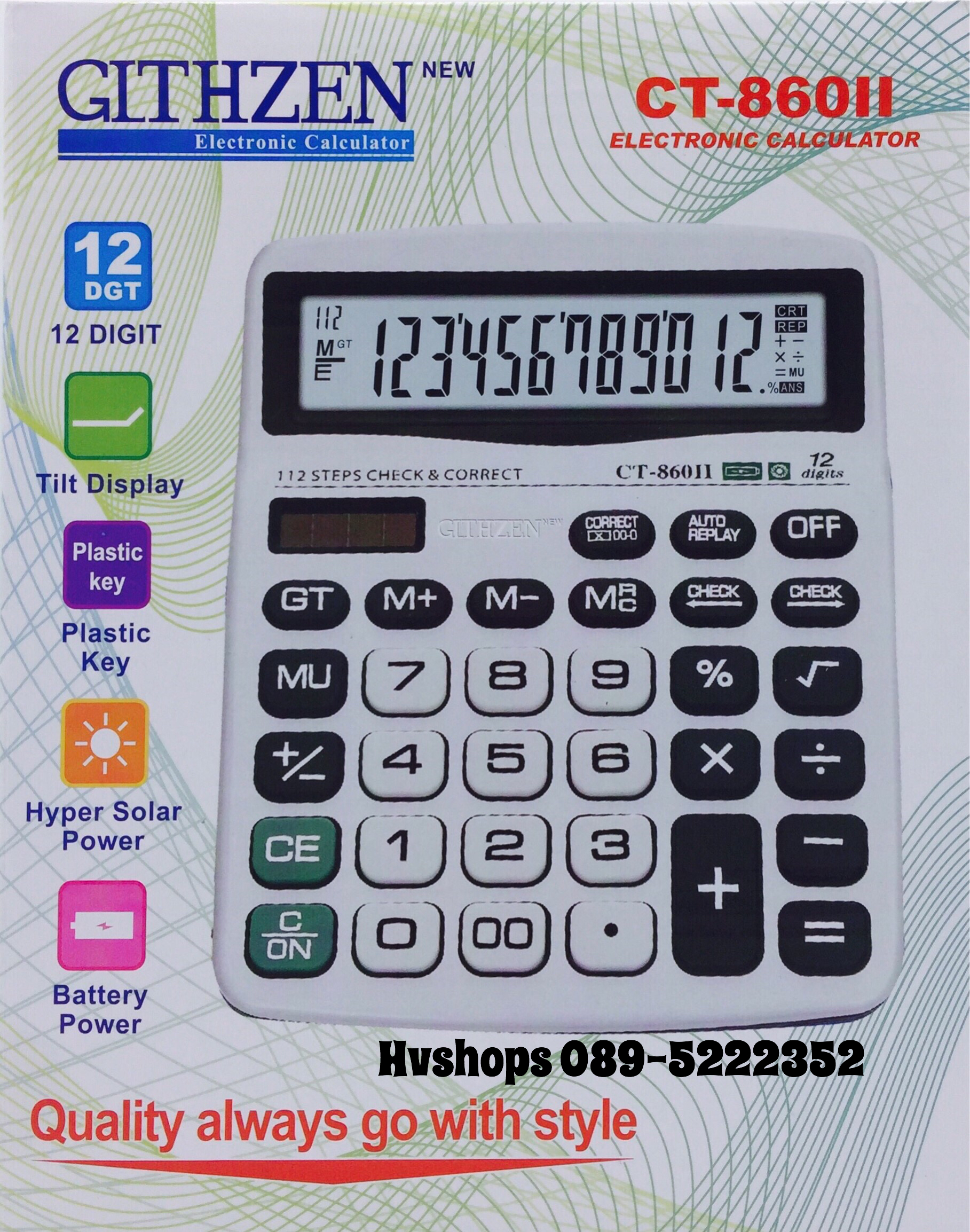 เครื่องคิดเลขจีน GLTHZEN รุ่น CT-8600II