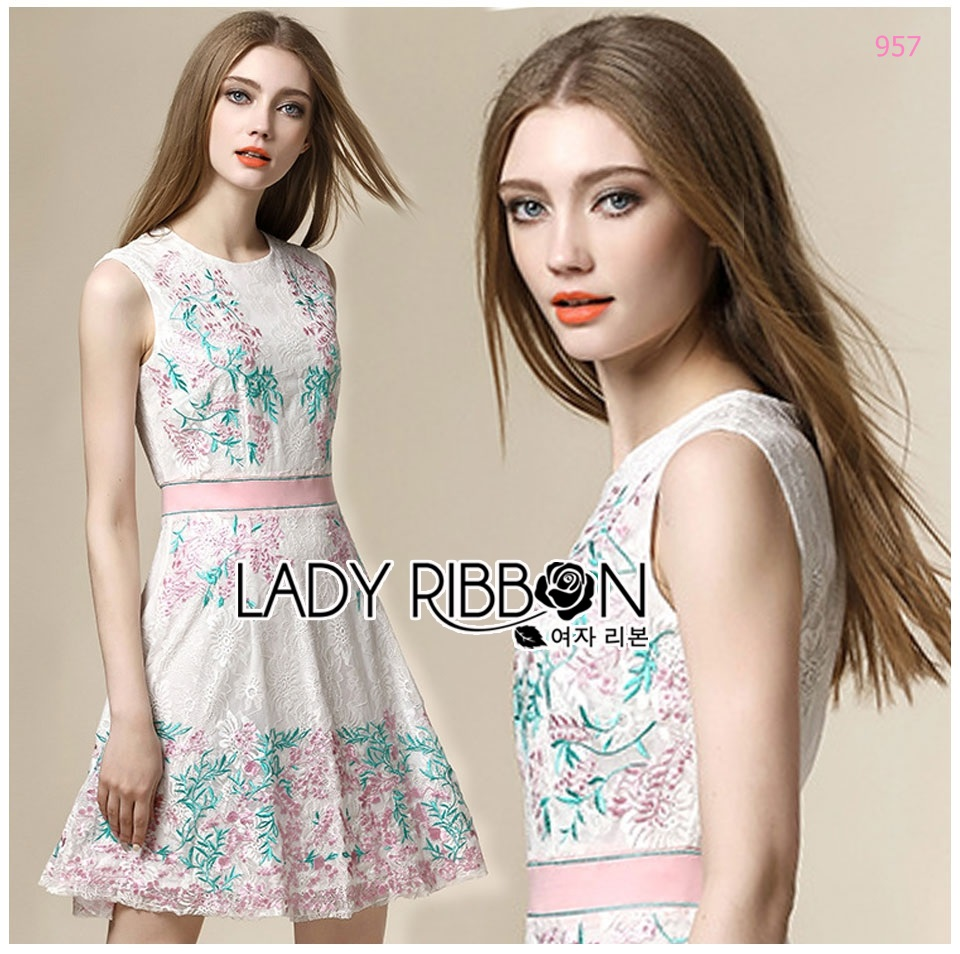 Lady Sweet Embroidered Lace Cocktail Dress