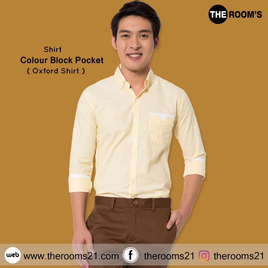 เสื้อเชิ๊ตแขนยาว เป๋าวี สีเหลือง