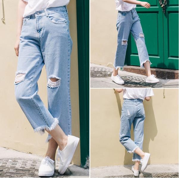 กางเกงยีนส์แฟชั่น แต่งขาด แนวเท่ห์ ๆ
