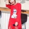 เสื้อตัวยาว Mini Dress สกรีนลาย แต่งริ้ว สีแดง
