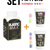 เซ็ตเม็ดพลาสติก แม๊กซ์ (พลาสติกมหัศจรรย์ปั้นได้) ไซส์ M + เม็ดพลาสติกสี 6 สี (CMYK+สีสะท้อนแสง) - SET PLASTIC MAX SIZE : M + CMYK/NEON 6 COLORS - Moldable Plastic for DIY CRAFT ART