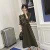 Maxi dress เดรสยาวคอเอียง มีสายบ่า สีเขียว