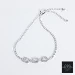 สร้อยข้อมือรูดปรับขนาดได้ เพชรสวิส CZ เงินแท้925 ชุบทองคำขาว (Bracelet CZ White Gold Plated Silver925)