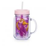 แก้วน้ำ ราพันเซล พร้อมหลอดดูด Rapunzel Jelly Jar with Straw - Small
