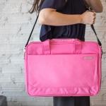 กระเป๋าใส่โน๊ตบุ้ค แล็ปท็อปได้ขนาดใหญ่สุด 15.6 นิ้ว สีชมพู สดใส