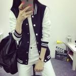 เสื้อคลุม แจ็คเก็ตแฟชั่น Classic style สไตล์เกาหลี-สีดำ