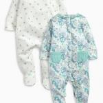 ชุดบอดี้สูท ลายดอกไม้ แพค 2 ตัว Lilac/Teal All Over Print Sleepsuits Two Pack
