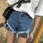 กางเกงยีนส์ขาสั้น แฟชั่นเกาหลี แต่งขาดต่อผ้าตาข่ายเซ็กซี่
