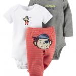 บอดี้สูท 3 ชิ้น ลายลิงโจรสลัด ไซส์ : แรกเกิด 3-Piece Bodysuit & Pants Set NB