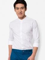 เสื้อเชิ๊ตแขนยาว คอจีน สีขาว