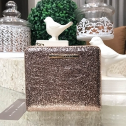 CHARLES & KEITH TEXTURED SQUARE SHORT WALLET *Rose Gold