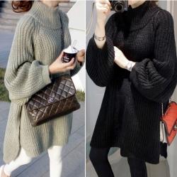 Sweater เสื้อไหมพรมทรงยาว สไตล์เกาหลี ผ่าชายด้านข้าง