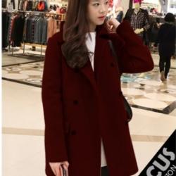 RED-เสื้อโค้ทกันหนาว สไตล์เกาหลี รุ่นกระดุม 2 แถว