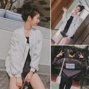 เสื้อคลุม แจ็คเก็ตเบสบอล กันลมได้ดี สีขาว / สีดำ