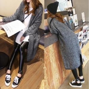 เสื้อคลุมกันหนาว ไหมพรมตัวยาวสไตล์เกาหลี สีเทา
