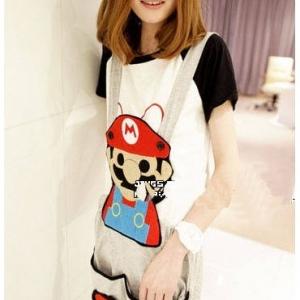 ชุดเอี๊ยม jumpsuit Super Mario เอวยืด พร้อมสายเอี๊ยมแบบถอดได้ สีเทา