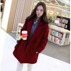 เสื้อโค้ทกันหนาว ทรงยาวสไตล์เกาหลี แบบเรียบง่าย ดูดีสุด ๆ ค่ะ -สีไวน์แดง