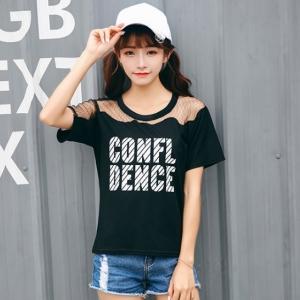 เสื้อยืดแฟชั่นเกาหลี แต่งผ้าตาข่าย ลาย Confl Dence สีดำ