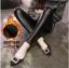 Legging กางเกงเลกกิ้งหนัง ขายาว ใส่อุ่น แต่งชายลูกไม้ สีดำ thumbnail 1