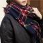 ผ้าพันคอกันหนาว ลายสก๊อต สไตล์เกาหลี โทนสีน้ำเงิน thumbnail 1