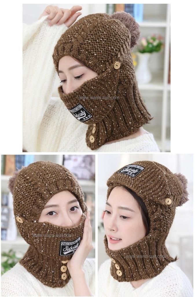 หมวกทรงเอสกิโม 4in1(หมวก+ที่ปิดหู+ที่ปิดปาก+ผ้าพันคอ)