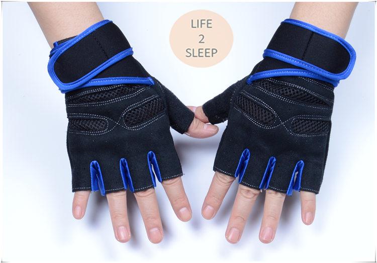ถุงมือฟิตเนสแบบมืออาชีพ สีน้ำเงิน ไซส์ L