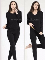 ลองจอนหญิงสีดำ รุ่นวุลพรีเมี่ยมเสริมฟรีซ เสื้อ+กางเกง)
