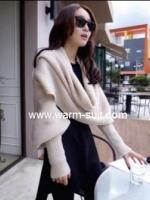 ผ้าพันคอไหมพรมสไตล์เกาหลี 2in1(เสื้อ&ผ้าพันคอ)