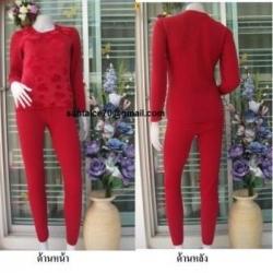 ชุดลองจอน หญิงสีแดง ลายหัวใจวูลด้านแพทเทิร์นด้านนอกตัวเสื้อ