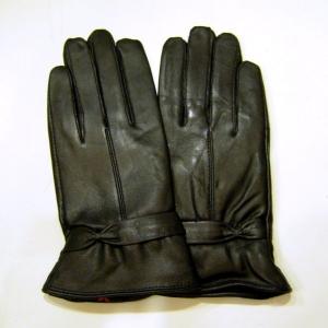 ถุงมือหนังแพะหญิง แต่งโบว์ข้อมือ