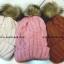 หมวกไหมพรมขนกระต่าย ทอละเอียด แต่งปอมเฟอร์ด้านบนสีชมพู ด้านในบุเสมือนขนแกะ thumbnail 4
